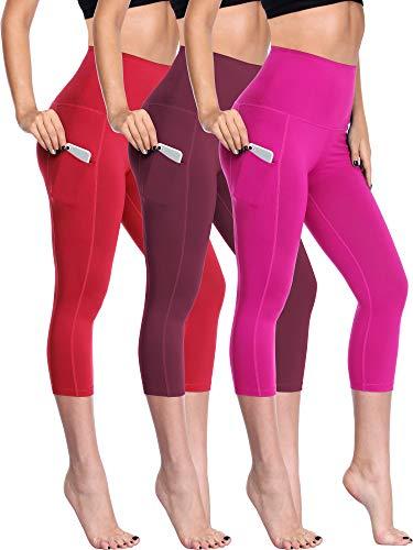 7dacd1e759305b Neleus Women's 3 Pack Tummy Control High Waist Capris Leggings with Two  Pockets,109,