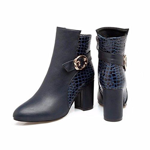 Automne Code Chaussures Boucle Et Hauts Courtes Bottes Le En Gros Bleu Et Métal Européen Américain Hiver Talons 7xpzOE1
