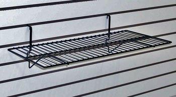 Only Garment Racks Black Wire Slatwall / Gridwall Shelf 24''L x 12''D