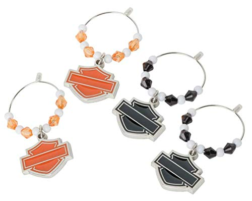 Harley-Davidson Silhouette Bar & Shield Wine Glass Charms - 4 Pack HDX-98505