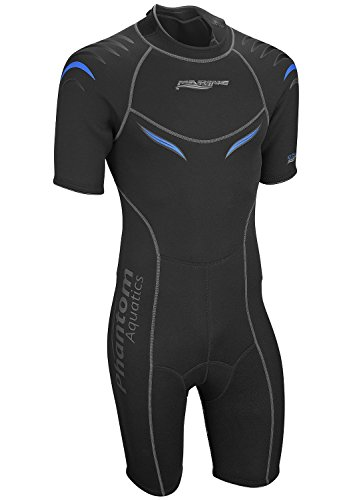 Phantom Aquatics Men's Marine Shorty Wetsuit, Black/Blue, - Wetsuit Men
