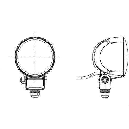 rund Anbau// B/ügel III LED// E1 36917 f/ür Nahfeldausleuchtung HELLA 2ZR 996 376-091 R/ückfahrleuchte Modul 70 Gen 12V//24V