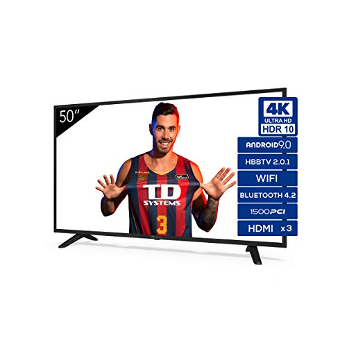 🥇 Televisiones Smart TV 50 Pulgadas 4K Android 9.0 y HBBTV