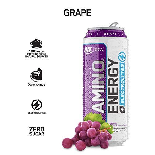 OPTIMUM NUTRITION ESSENTIAL AMINO ENERGY Plus Electrolytes Sparkling Hydration Drink, Grape, Keto Friendly BCAAs, 12 Count (Grape Energy)