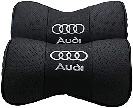 car sales 2 PCS Genuine Leather Bone-Shaped Car Seat Pillow Neck Rest Headrest Comfortable Cushion Pad with Logo Pattern Fit LandRover
