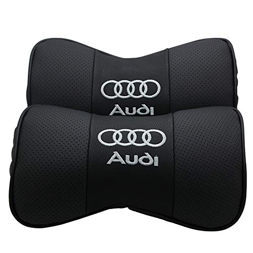 Audi Leather Seats - Auto Sport 2 PCS Genuine Leather Bone-Shaped Car Seat Pillow Neck Rest Headrest Comfortable Cushion Pad with Logo Pattern (Audi)