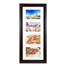 Kiera Grace Lucy Collage Frame, 8-Inch by 20-Inch, Matted For 4-4 by 6-Inch Photos, Dark Brown with Gold Beading