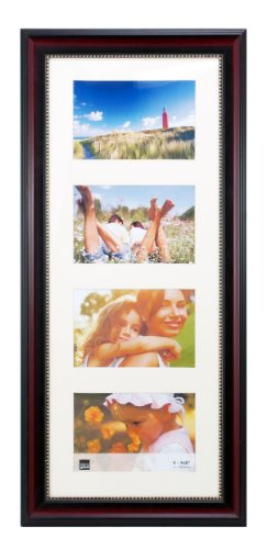 Kiera Grace Lucy Matted Collage Picture Frame, 8 by 20-Inch Matted for 4-4 by 6-Inch, Dark Brown with Gold Beading