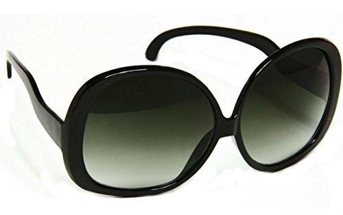 Vintage Oversized Sunglasses (Women's Designer Style Vintage Oversized Sunglasses-Assorted Brands (XL Black Gloss))