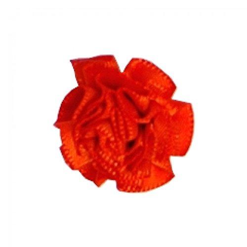 Berisford Ribbon Ruched Rosettes 761 Autumn Orange - per pack of 6