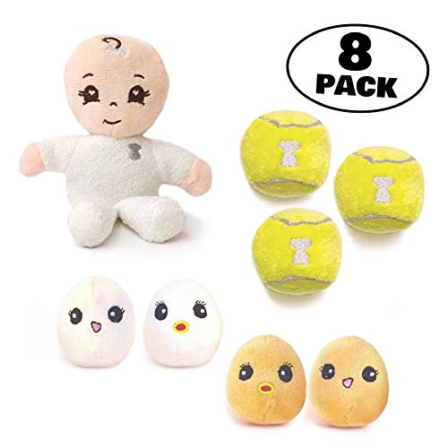 MISO PUP 8 Pack - Plush PupSize Play Pack- 8 Mini Squeak Toys for Small Dogs & Teacup Puppies