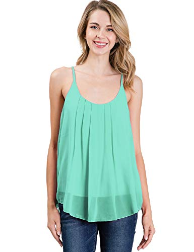 CLOVERY Women Loose Casual Summer Pleated Flowy Sleeveless Camisole Tank Tops Mint 3X
