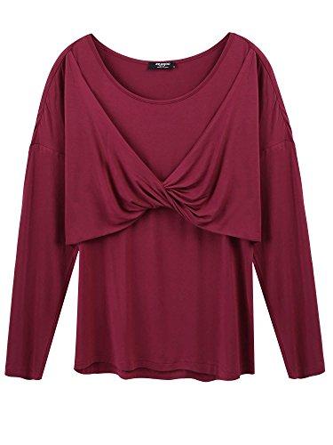 Zzeagoo Womens Scoop Neck Long Sleeve Wrap Front Drape Dolman Top(Wine - Drape Long Sleeve Neck