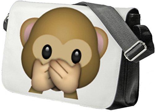 """Schultertasche """"Nichts-Böses-Sagen-Affe"""" Schultasche, Sidebag, Handtasche, Sporttasche, Fitness, Rucksack, Emoji, Smiley"""