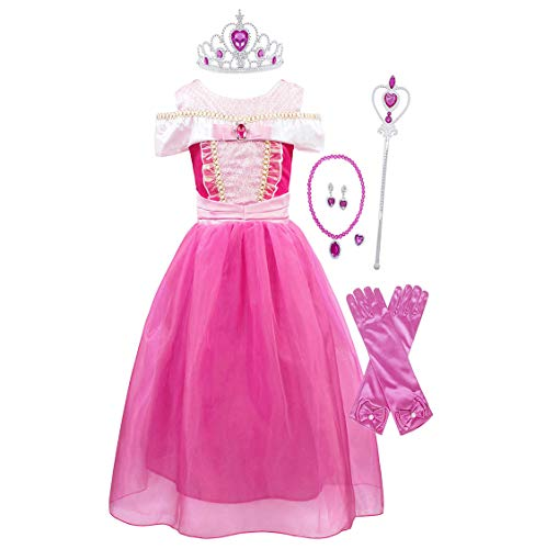 HenzWorld Aurora Costume Dress Girls Princess Jewelry Accessories Birthday Party Halloween Cosplay Outfit