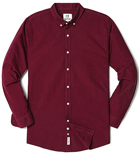 Men's Oxford Long Sleeve Button Down Casual Dress Shirt,Wine Red,XX-Large