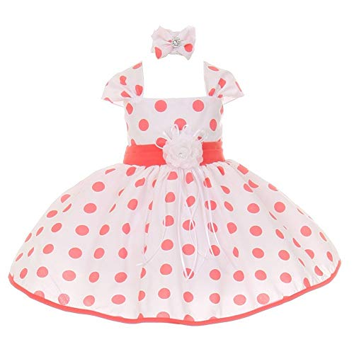 Shanil Inc Baby Girls Coral White Polka Dot Headband Flower Girl Dress 6M from Shanil Inc.