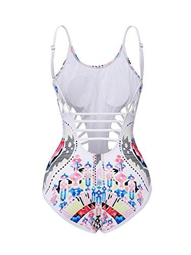 Minetom Bañador De Dos Piezas Mujer Bikini Monokini Elegante Cómodo Beach Swimwear Hueco Diseño Cuello Redondo Triángulo Blanco