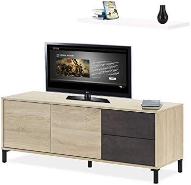 HABITMOBEL Mesa Moderna Television con Estante Incluido Medidas: 130 cm (Ancho) x 47 cm (Alto): Amazon.es: Hogar