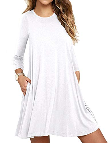 - Unbranded* Women's Long Sleeve Pocket Casual Loose T-Shirt Dress White XXX-Large