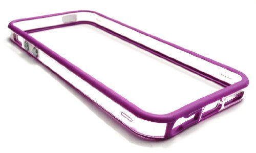 Emartbuy ® Apple Iphone 5 Lcd Screen Protector Und Moulded Bumper Frame Gel Cover / Case Lila / Clear