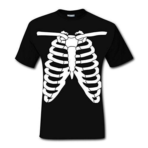 Human Skeleton X-ray Look T-shirts Tee Shirt for Men Tops Costume Round Black 3XL