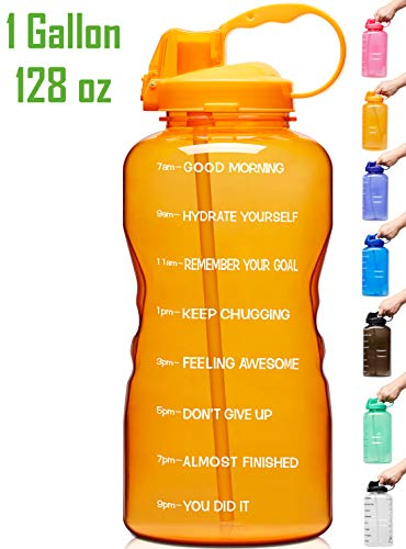 Venture Pal Large 1 Gallon/128 OZ Motivational BPA Free Leakproof Water Bottle with Straw & Time Marker Perfect for Fitness Gym Camping Outdoor Sports-Orange