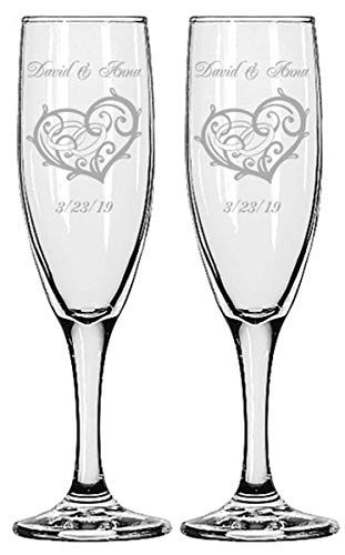 Gifts Infinity Engraved Wedding Champagne Flutes Set of 2 Personalized Toasting Glasses (Infinity Love)