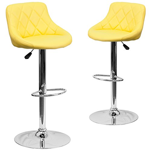 Flash Furniture 2 Pk. Contemporary Yellow Vinyl Bucket Seat Adjustable Height Barstool with Chrome Base ()