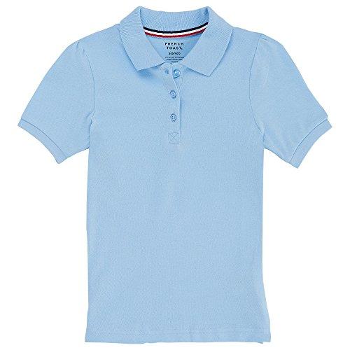 Light Blue Adult Shirt - French Toast womens Short Sleeve Stretch Pique Polo, Light Blue XL