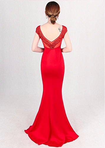 Largo El Noche Delgado y Nuevo de Vestido Rojo WBXAZL es Rosa Delgado T0SqwSC