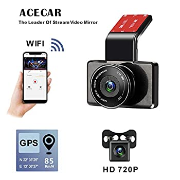 Image of On-Dash Cameras ACECAR Dual Dash Cam for Cars,Front and Rear Dual Camera with Night Vision 1080p FHD LCD Screen, Parking Monitor, Loop Recording, WDR Wide Angle Lens, Wi-Fi, G-Sensor, GPS,Motion Detection