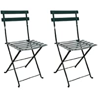 Mobel Designhaus French Café Bistro Folding Side Chair, BlackGreen Frame, Steel Metal Slats (Pack of 2)