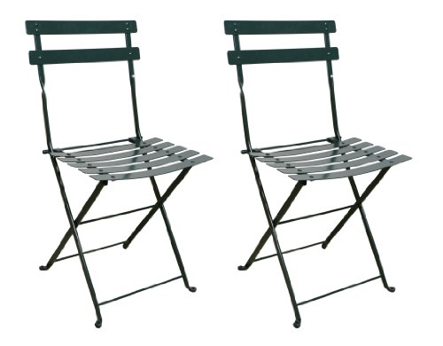 Mobel Designhaus French Café Bistro Folding Side Chair, BlackGreen Frame, Steel Metal Slats (Pack of 2)