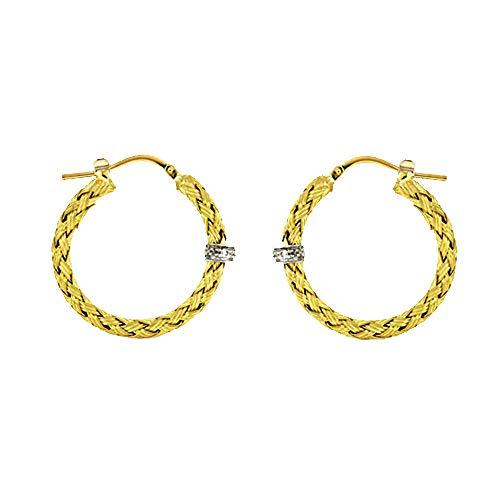 0.06 Ct Diamonds 18k Yellow Gold Textured Finish Braided Basket-Weave Hoop Earrings Pair