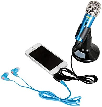2016 popular 3.5mm Audio Plug Stand Wired Mini Microphone with Stand Portable Stereo Condenser Mic for Karaoke blue color