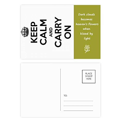Quote Keep Calm And Carry On Black Poetry Postcard Set Thanks Card Mailing Side 20pcs by DIYthinker