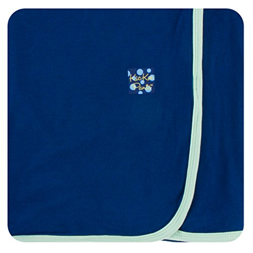 Kickee Pants Little Boys Solid Swaddling Blanket - Flag Blue With Pistachio, One Size ()