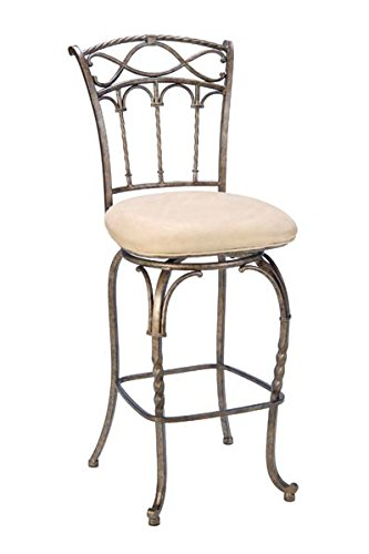 Kendall Metal Bronze Hillsdale - Hillsdale 4708-827 Kendall Counter Stool with Memory Swivel - Fawn Faux Suede