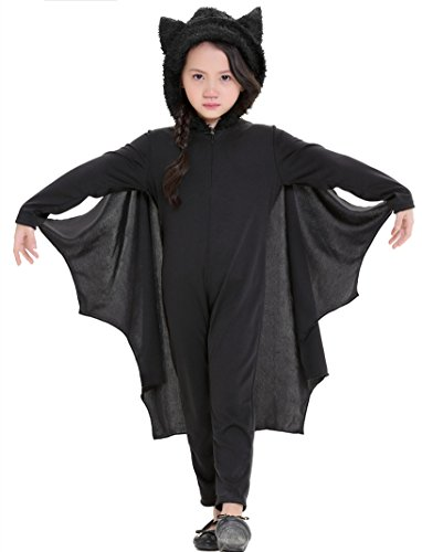H.X Kids Bat Jumpsuit Halloween Halloween Costume for Boys Girls with Gloves (Medium/Fit 5-6 years, Black)