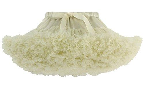 Aivtalk Baby Girls Pleated Bubble Tutus Birthday Skirt Satin Bows Tulle 0-2T Beige (Pleated Bubble)