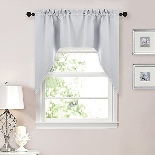 (NICETOWN Half Window Kitchen Tier Curtains- Tailored Scalloped Valance/Swags for Bedroom (One Set, 29-Inch-by-38-Inch Each Panel,Platinum-Greyish White))