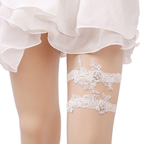 OURIZE Wedding Garters for Bride Lace Garter Belt Bridal Garter Set with Rhinestones (Ivory)