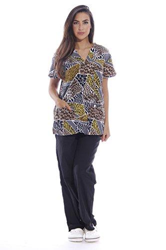 Just Love Nursing Scrubs Set For Women/Print Scrubs,Animal Instinct Print With Black Pants,X-Small