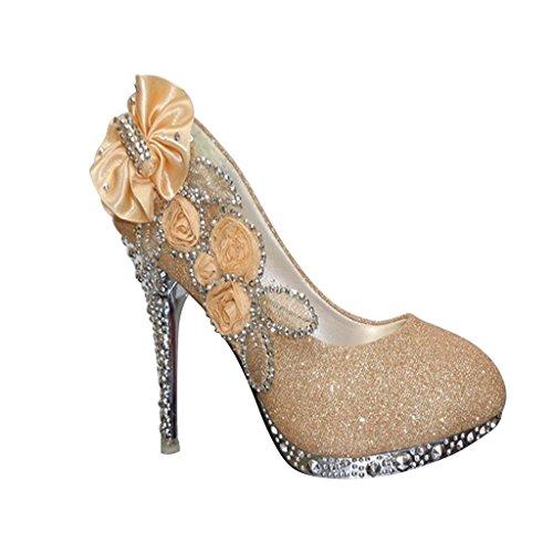 Wotefusi Women 3D Flowers Rhinestone Bling Wedding Party Club Bride Bridesmaid High Heels Shoes Stiletto Golden EJtIRgJE7f