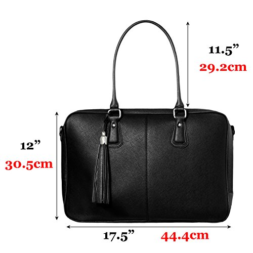 BfB Laptop Bag for Women – Handmade Messenger Computer Bag - 2 Padded Sleeves - Ideal Travel Tote - Black by My Best Friend is a Bag (Image #7)