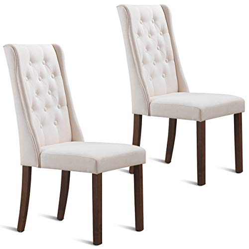 Costway Set of 2 Dining Chair Backrest Cushioned Parsons Dining Side Chair with Solid Wooden Legs, Fabric Button-Tufted, Comfortable Upholstered Back and Seat, Classic Parsons Button Tufted Accent, Le