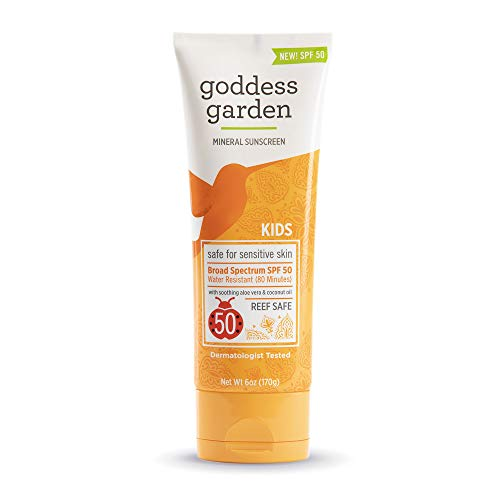 Goddess Garden Kids SPF 50 Mineral Sunscreen Lotion for Sensitive Skin (Tube), Reef Safe, Sheer Zinc Oxide, Broad Spectrum, Water Resistant, Non-Nano, Vegan, Leaping Bunny certified Cruelty-Free, 6oz.