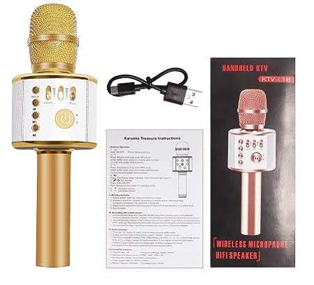 Karaoke Micr/ófono Bluetooth Port/átil Inal/ámbrico Para Ni/ños Chavales Con Altavoz Luz Led Transmisi/ón Propia M/úsica Desde Cualquier Dispositivo Compatible Windows Android y iOS. PINK EXTRA