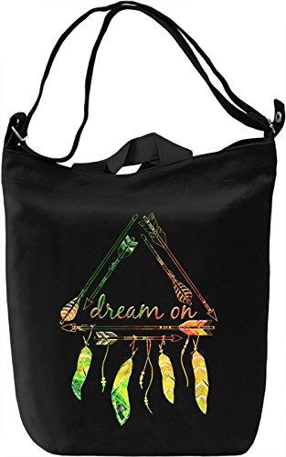 Dream On Borsa Giornaliera Canvas Canvas Day Bag| 100% Premium Cotton Canvas| DTG Printing|